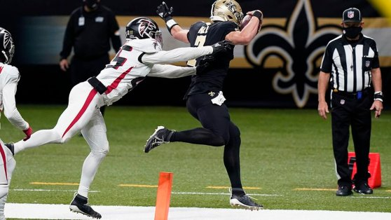 """Some New Orleans Saints fans were nervous when news broke that """"Swiss Army knife"""" Taysom Hill would start for the injured Drew Brees Sunday against Atlanta - his first-ever start at quarterback.  -"""