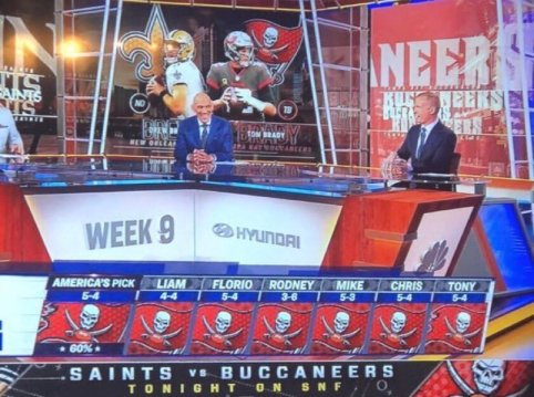 3. Saints thrive as underdogs!  Didn't you just have a feeling when the whole SNF pregame team picked the Bucs that the Saints might shock the world? -