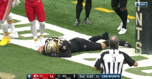 Ultimately, the Saints defense rose to the occasion against Mahomes' magic, but missed opportunities doomed the Saints' hopes for an upset.  They committed 10 penalties, including one that resulted in Cam Jordan's ejection, Brees threw an early interception during his 0-for-6 start that led to a Chiefs touchdown,  - and there was the ultimate blown opportunity when the Saints (ahem, Alex Anzalone, pictured) couldn't recover Demarcus Robinson's fumble in the end zone, resulting in a safety instead of a game-tying touchdown to close the first half.