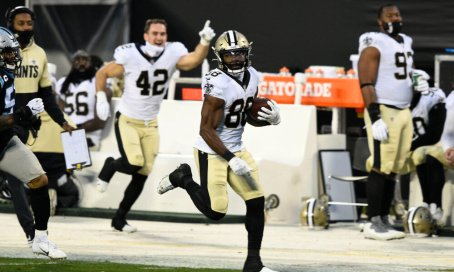 No running backs, no problem: WR/RB Ty Montgomery (pictured, cred. USA Today) ran 18 times for 105 yards, including a long of 36 yards, as part of the Saints' 156-yard rushing day. -